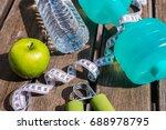 fitness concept   dumbbell ...   Shutterstock . vector #688978795