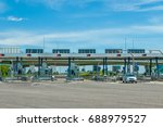 cars passing through the toll... | Shutterstock . vector #688979527