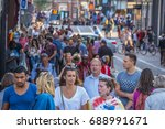 the street to leidse square...   Shutterstock . vector #688991671
