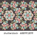 seamless abstract floral border ... | Shutterstock .eps vector #688991899