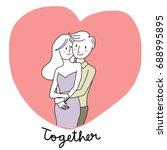cute couple embracing each... | Shutterstock .eps vector #688995895