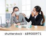 sadness pretty business woman... | Shutterstock . vector #689000971