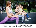 fitness  sport  friendship and... | Shutterstock . vector #689006605