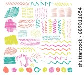 set of color brush pint and... | Shutterstock .eps vector #689011654