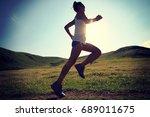 young fitness woman runner... | Shutterstock . vector #689011675