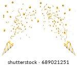 exploding party popper on white ... | Shutterstock .eps vector #689021251