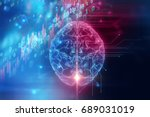 3d rendering of human  brain on ... | Shutterstock . vector #689031019