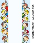 happy kids  banner  vector icon.... | Shutterstock .eps vector #689035555