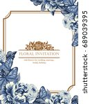 invitation with floral... | Shutterstock . vector #689039395