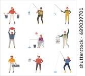 fishing people vector... | Shutterstock .eps vector #689039701