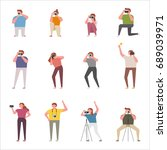 various poses to take pictures... | Shutterstock .eps vector #689039971