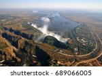 victoria falls  located on the... | Shutterstock . vector #689066005