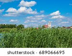 view on trinity catholic church ... | Shutterstock . vector #689066695