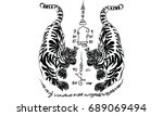thai traditional tattoo  tiger | Shutterstock .eps vector #689069494