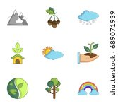 ecology icons set. cartoon set... | Shutterstock .eps vector #689071939