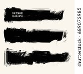 vector set of black brush... | Shutterstock .eps vector #689073985