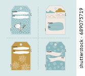 vector set of winter gift tag... | Shutterstock .eps vector #689075719