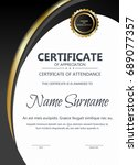 certificate and diploma... | Shutterstock .eps vector #689077357