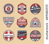 sky patrol retro isolated label ... | Shutterstock .eps vector #689080555