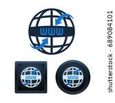 design of globe shaped www... | Shutterstock .eps vector #689084101