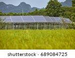solar panels in rice fields | Shutterstock . vector #689084725