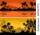 set exotic sea and mountains... | Shutterstock . vector #689087971
