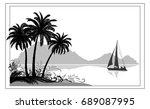 exotic sea landscape  tropical... | Shutterstock . vector #689087995