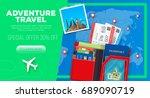 adventure travel banner with... | Shutterstock .eps vector #689090719
