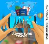adventure travel banner. first... | Shutterstock .eps vector #689090749