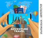 adventure travel banner. first... | Shutterstock .eps vector #689090749