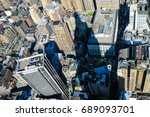 aerial view over manhattan. | Shutterstock . vector #689093701