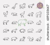 animals line icons set | Shutterstock .eps vector #689103667