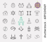 religion line icon set | Shutterstock .eps vector #689104069