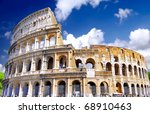 The Colosseum, the world famous landmark in Rome, Italy - stock photo