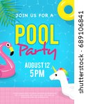 pool party invitation vector... | Shutterstock .eps vector #689106841
