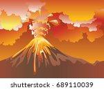 illustration of cartoon volcano ... | Shutterstock .eps vector #689110039
