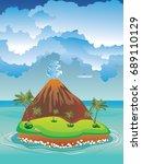 illustration of cartoon volcano ... | Shutterstock .eps vector #689110129