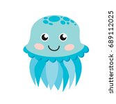 cute happy jellyfish cartoon... | Shutterstock . vector #689112025