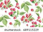 raspberrys patterns vectors   Shutterstock .eps vector #689115229
