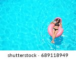 beautiful young woman with... | Shutterstock . vector #689118949