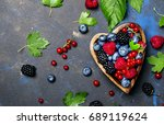 Mix Of Summer Berries In Heart...