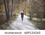 blonde woman in blue elegant... | Shutterstock . vector #689124265