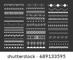 set of white seamless borders... | Shutterstock .eps vector #689133595