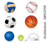 set of sport balls and tennis... | Shutterstock . vector #68913709