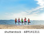 young group man and woman yoga... | Shutterstock . vector #689141311