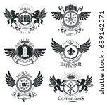 heraldic coat of arms  vintage... | Shutterstock .eps vector #689142571