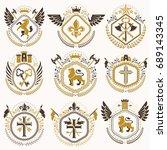 set of old style heraldry... | Shutterstock .eps vector #689143345