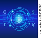 bit coin digital currency... | Shutterstock .eps vector #689143585