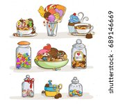 sweets in glass jars of various ... | Shutterstock .eps vector #689146669