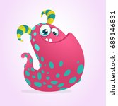 happy pink cartoon monster blob.... | Shutterstock .eps vector #689146831